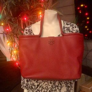 Tory Burch Genuine Ruby Red Leather Taylor Tote